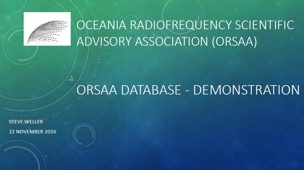 ORSAA Database - Demostration (01)